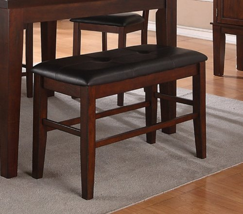 Poundex PDEX-F1298 High Bench with Black Leather Seat, Antique Walnut