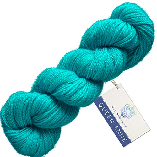 Living Dreams Queen Anne LACE Yarn. Luxuriously Soft Baby Alpaca Silk USA Hand Dyed. Turquoise - Silk Wool Lace