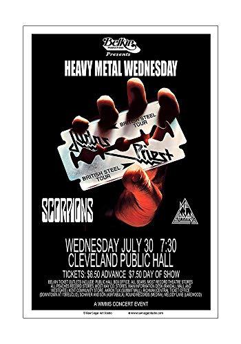 (Raw Sugar Art Studio Judas Priest/Scorpions/Def Leppard 1980 Cleveland Concert Poster)