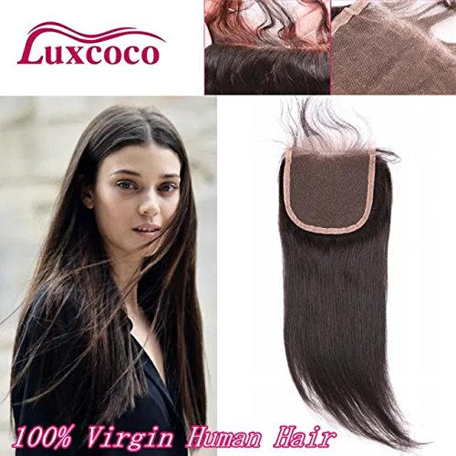 Luxcoco Free Way Part Brazilian Lace Closure Straight Bleached Knots with Baby Hair Virgin Human Hair Accessions 8