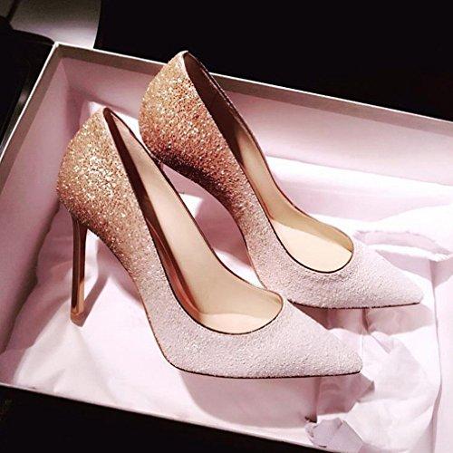 Zapatos de Tacón Alto de Tacón Alto con Zapatos de Mujer Puntiagudos Segundo