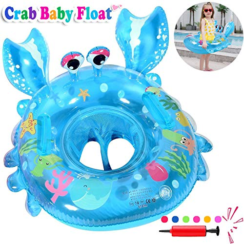 (Baby Swimming Ring Floats with Safety Seat Double Handle Inflatable Infant Swim Ring for Babies Kids Swimming Float Baby Floaties for Pool Swim Training Aid Pool Floats for Toddlers of 6-36 Months)