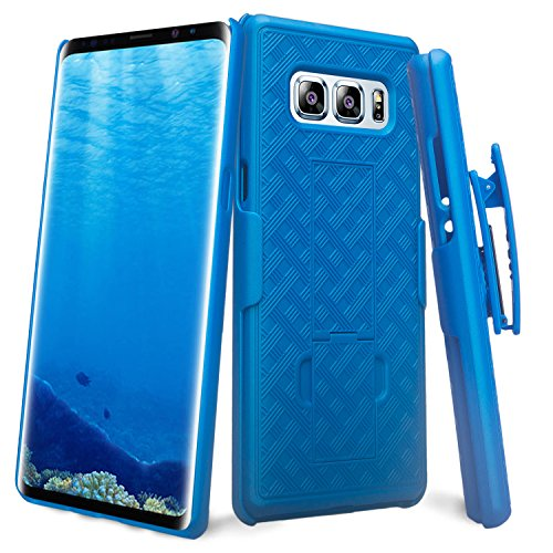 GALAXY WIRELESS for Samsung Galaxy Note 8 Case with Clip, Galaxy Note 8 Phone Case Protective Swivel Slim Belt Clip Holster, Defender Cover for Galaxy Note 8 (Holster Shell Combo) - Blue