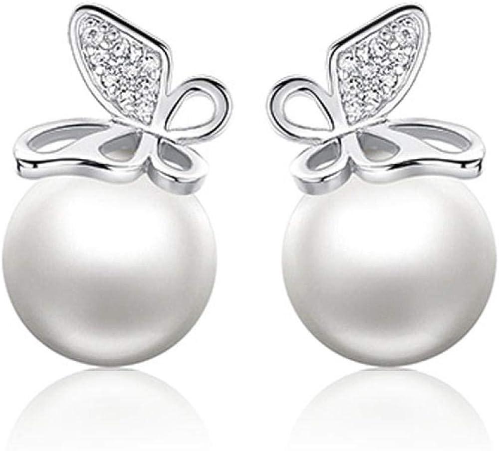 Pendientes de perlas de moda Pendientes de diamantes de mariposa de productos pequeños Pendientes simples europeos y americanos