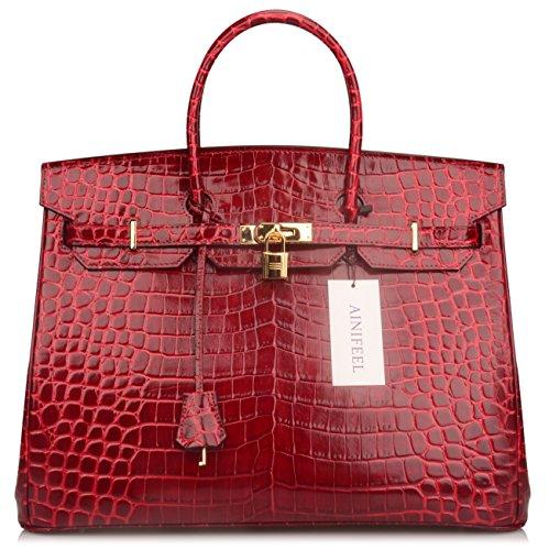 Ainifeel 40cm Oversized Patent Leather Padlock Handbag Business Purse (40cm OVERSIZE, Claret red) by Ainifeel (Image #2)