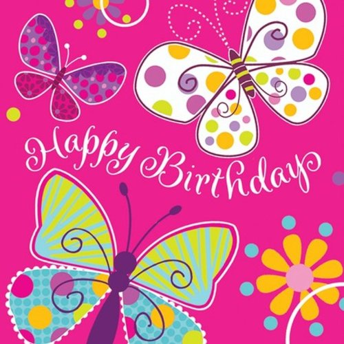 16-Count Paper Lunch Napkins, Butterfly Sparkle Happy Birthday