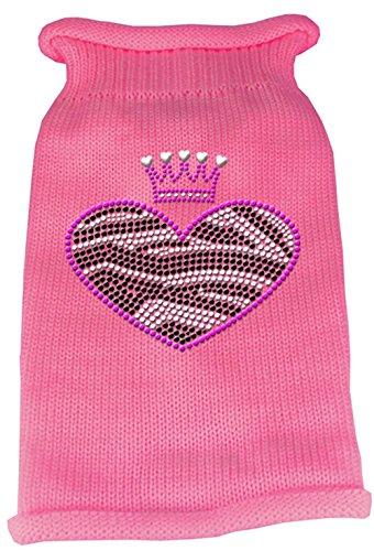 Mirage Pet Products Zebra Heart Rhinestone Knit Pet Sweater, Large, Pink