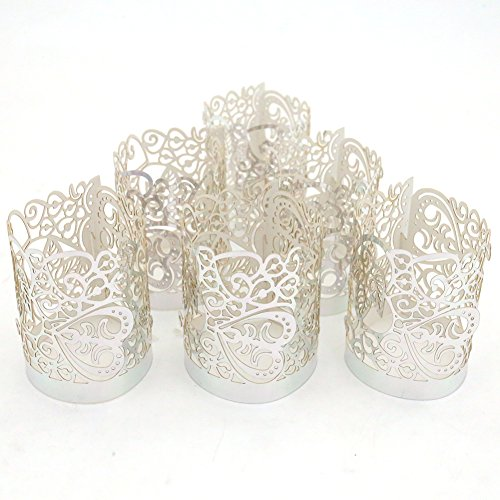 Votive Candle Wraps - LoveInUSA 48PCS Silver Reflection Tea Light Votive Laser Cut Decorative Wraps Paper Candle Holder for LED Battery Tealight Candles for Valentine's Day Birthday Wedding Decoration