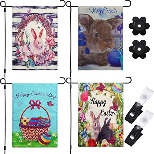 Yaomiao 4 Pieces Double Sided Easter Egg Bunny Flags Spring Garden Flags Outdoor Yard Flags with 2 Sets Stoppers and Flag Clips for Easter, 18.5 by 12.6 inch (Easter Bunny Clip)