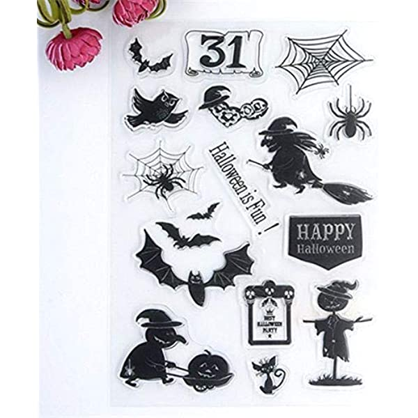 MaGuo Halloween Creatures Clear Stamps Ghost for Paper Craft Card Making Decoration and DIY Scrapbooking