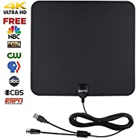 Amplified HDTV Antenna-SKYTV 50 Miles Range Digtial HD Antennas with 13.2ft long copper coaxial cable -Black