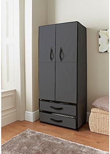 Armario con dos puertas de hoja, ideal para el almacenamiento en dormitorios, color gris, de Deluxe: Amazon.es: Hogar