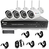 Ctronics 8CH 1080P NVR System Home Surveilliance Security System With 4 Outdoor/Indoor WIFI IR 1080P IP Cameras Free Power Supply(ONVIF 2.0) Smart Phone APP Remote View and Long Range WIFI