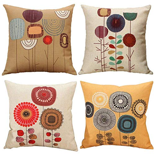 Totoo Pack of 4 Cartoon Flowers Pattern Cushion Covers Decorative Throw Pillows for Bedroom Sofa Car 18x18 inches