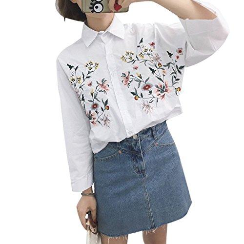 配列ルー程度(アベニュー) AVENIR 花柄 刺繍 シャツ ブラウス レディース ホワイト 白 フリーサイズ Free size