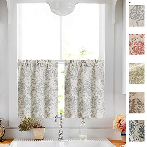jinchan Floral Scroll Printed Linen Tiers Curtains Pole Top Ikat Flax Textured Medallion Design Jacobean Floral Curtains Retro Living Room Window Treatments Grey 24 Inch Long 2 Panels (Floral Jacobean)