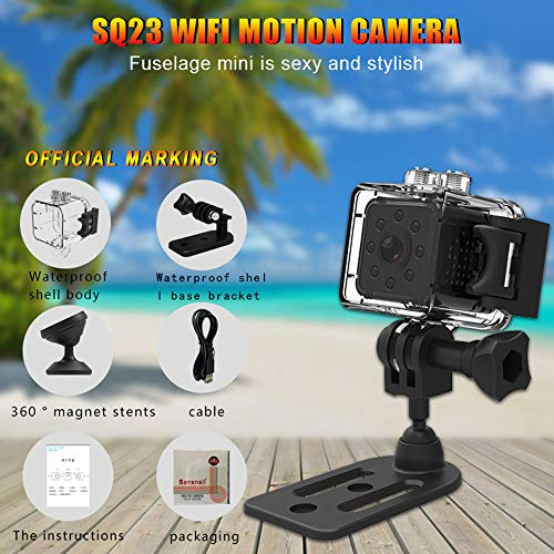 UNIKAMI Mini Camera SQ23 HD WiFi Small 1080P Wide Angle Camera cam Waterproof Mini Camcorder sq13 DVR Video Sport Micro Camcorders Upgraded Version of SQ11, SQ12, SQ13 (Black)
