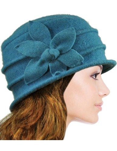 Dahlia Women's Daisy Flower Wool Cloche Bucket Hat - Teal Blue (Ladies Fall Dress Hat)