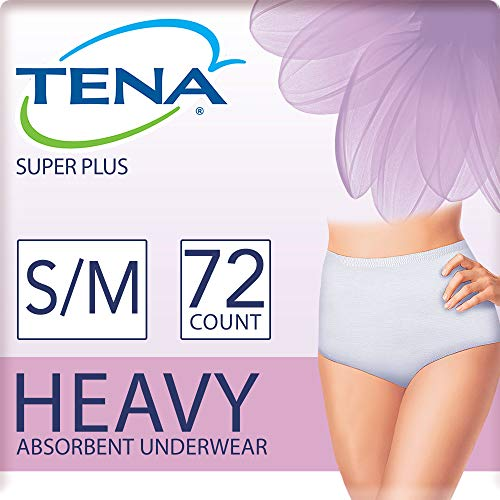 (Tena Incontinence Underwear for Women, Super Plus Absorbency, Small/Medium, 72 Count)