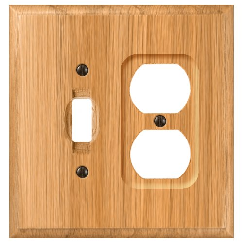 Amerelle Traditional Single Toggle/Single Duplex Wood Wallplate in Light ()