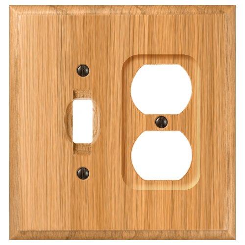 Amerelle Traditional Single Toggle/Single Duplex Wood Wallplate in Light Oak