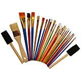 Kurtzy 25 Pcs Acrylic Paint Brushes - Fine, Thick & Medium Sizes - Oil Painting Brushes, Water Color Paint Brush - Artist Paint Brush for Kids, Adults & Beginners - Bulk Wooden Paint Brush Set