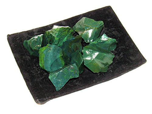 - Zentron Crystal Collection: 1/2 Pound Rough Natural Green Jasper Stones with Velvet Bag