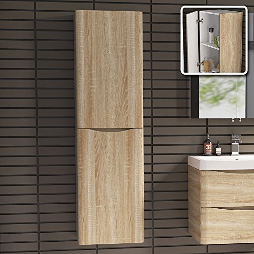 1400 mm Tall Light Oak Bathroom Furniture Cupboard Left Hand Cabinet Storage Unit iBathUK