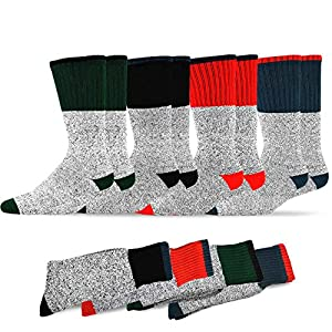 Soxnet Eco Friendly Heavy Weight Recyled Cotton Thermals Boot Socks 4 Pairs (10-13, Color Heel Top)