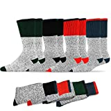 6. Soxnet Eco Friendly Heavy Weight Recyled Cotton Thermals Boot Socks 4 Pairs (10-13, Color Heel Top)