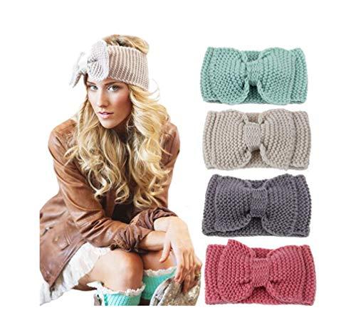 Ewanda store Big Bow Pattern Women's Knitted Headbands Winter Warm Head Wrap(Cyan)
