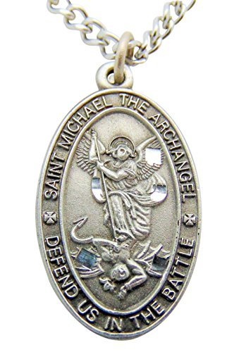 Saint Michael Pewter Medal Oval Pendant 1 Inch on 24 Inch Stainless Steel Chain Gift -