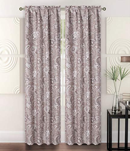 - Sapphire Home 2 Rod Pocket Curtain Panels 84 Inches, Decorative Floral Paisley Print, Light Filtering Room Darkening Thermal Foam Back Lined Curtain Panels for Living/Bedroom/Patio, Brown/Beige, W1