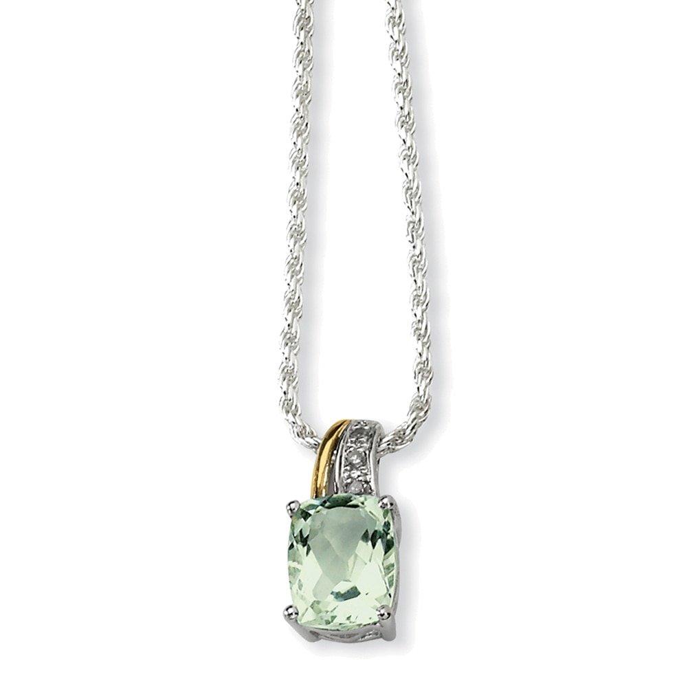 Lex /& Lu Sterling Silver /& 14K Green Quartz and Diamond Necklace