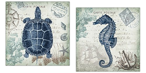 Nautical-Seaside-Blue-Carte-Postale-Seahorse-and-Turtle-Set-by-Tre-Sorelle-Studios-Two-12x12in-Unframed-Poster-Prints