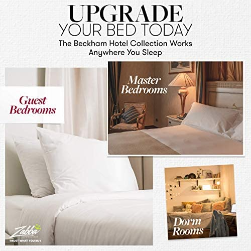 Beckham Hotel Collection Bed Pillows for Sleeping - Queen Size, Set of two - Soft Allergy Friendly, Cooling, Luxury Gel Pillow for Back, Stomach or Side Sleepers
