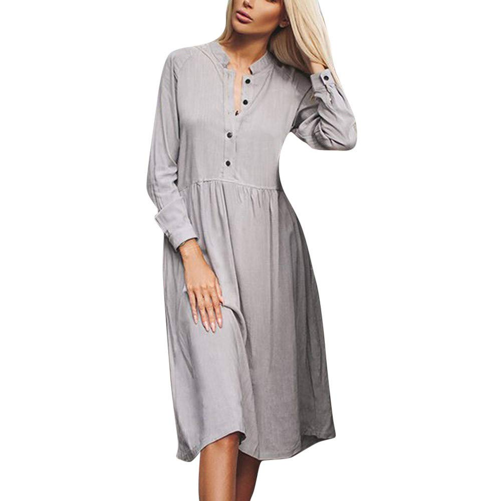 AMSKY Dress Pants for Men Slim Fit,Fashion Women Casual Botton England Solid Long Sleeve Stand Collar Shirt Dress,Sweaters,Gray,S