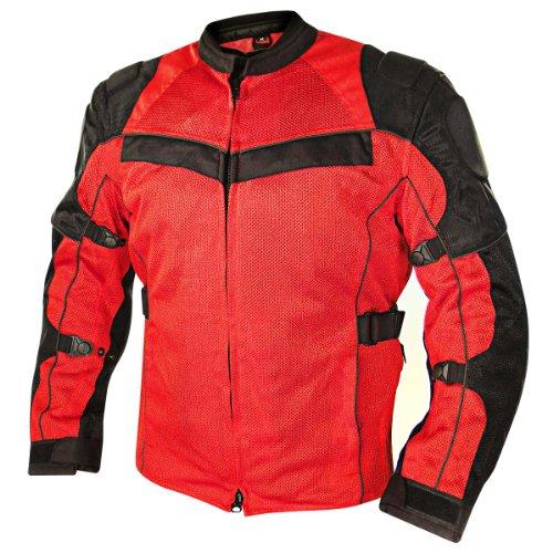 Jacket Leather Mesh Tex (Xelement XS8161 All Season Mens Black/Red Tri-Tex/Mesh Jacket - Medium)