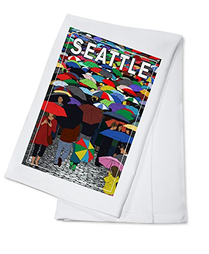 - Seattle, Washington - Umbrellas (100% Cotton Kitchen Towel)