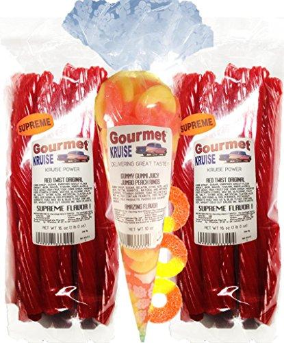 Red Licorice Original Twist 2-1lb Bags (1) Juicy Jumbo Peach Rings Gummi Gummy 10OZ (NET WT 42 OZ) Gourmet Kruise Signature Gifts ()