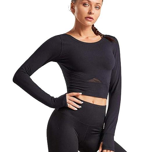 HZH Top de Yoga para Mujer, Camisa para Correr, Manga Larga ...