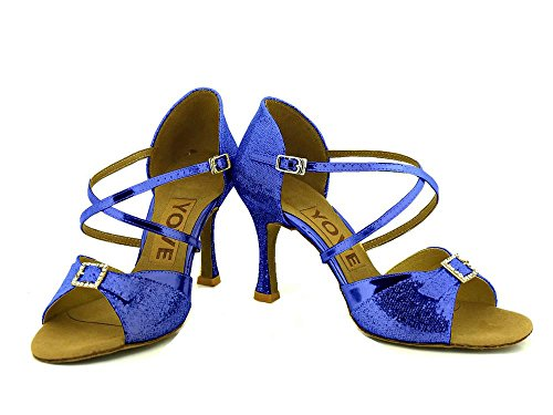 YFF Dance Shoes Women's Latin Dance Shoes Blue h51mbg0wj