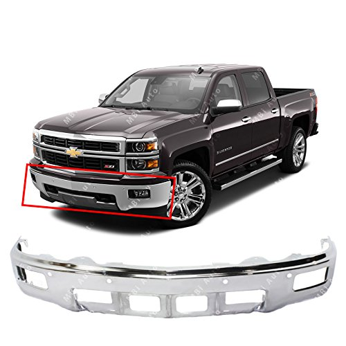 (MBI AUTO - Chrome, Steel Front Bumper Face Bar Fascia for 2014 2015 Chevy Silverado 1500 Pickup W/Fog & Park 14-15, GM1002845)