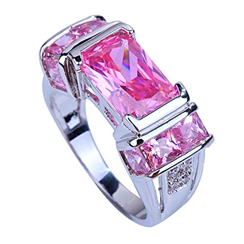 - Psiroy Women's 925 Sterling Silver Created Pink Topaz Filled Engagement Ring Band Size 8