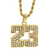 Mens 14k Gold Plated Iced Out #23 Basketball Pendant 24'' Rope Chain Hip Hop Necklace D472