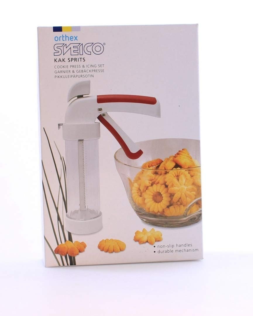 Cookie press & Icing set all in one Plastic Guaranteed quality 23cm Long 8 icing & 12 cookie design Cookware company Fcsv1880G