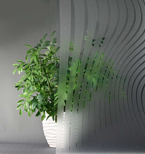 Modern Lines Clear Etched, Decorative, Privacy, Static Cling Window Film (35'' x 18ft) by Window Film and More