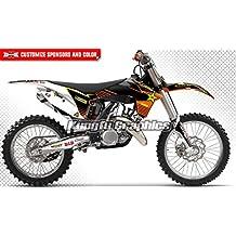 Motocross Decal Design, 2011 2012 KTM 125 150 250 350 450 SX SXF XC XCF, Black Background, 3M Quality Vinyl, Added Sponsor Logo