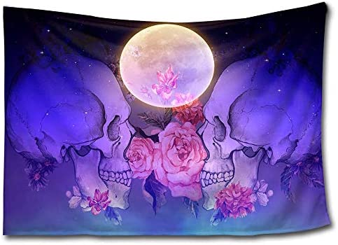 HMWR Suger Skull Tapestry Wall Hanging Pink Flowers Tapestry Bright Moon Midnight Sky Sea Ocean View Dreamy Mystic Collage Dorm Beach Throw Wall Decor 60×80 Inches,Purple Blue