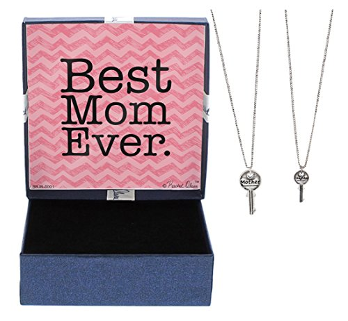 Mother's Day Gifts Best Mom Ever Gift Happy Mother's Day Mother Daughter Bond Forever Mother Daughter Jewelry Silver-Tone Key Pendant 2-piece Necklace Set Jewelry Box Gifts for Mom and Daughter